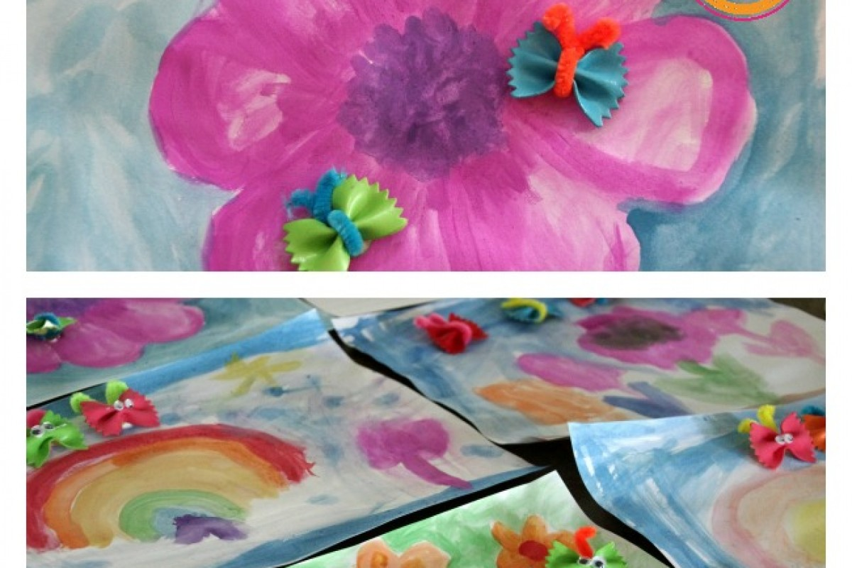 Φτιάξτε χρωματιστά πεταλουδάκια από ζυμαρικά