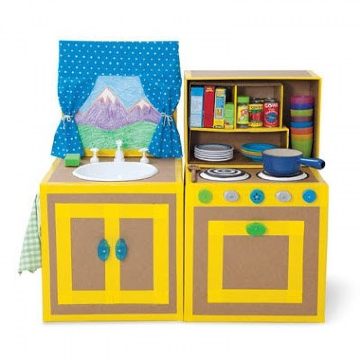 Детские кухни из картона своими руками фото поэтапно