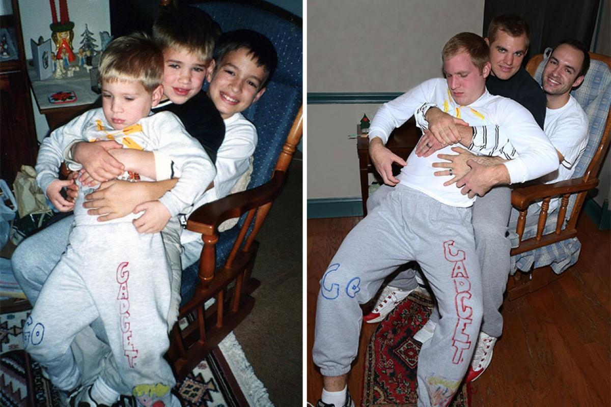 Τρία αδέλφια φωτογραφίζονται ξανά όπως παλιά για τη μαμά τους
