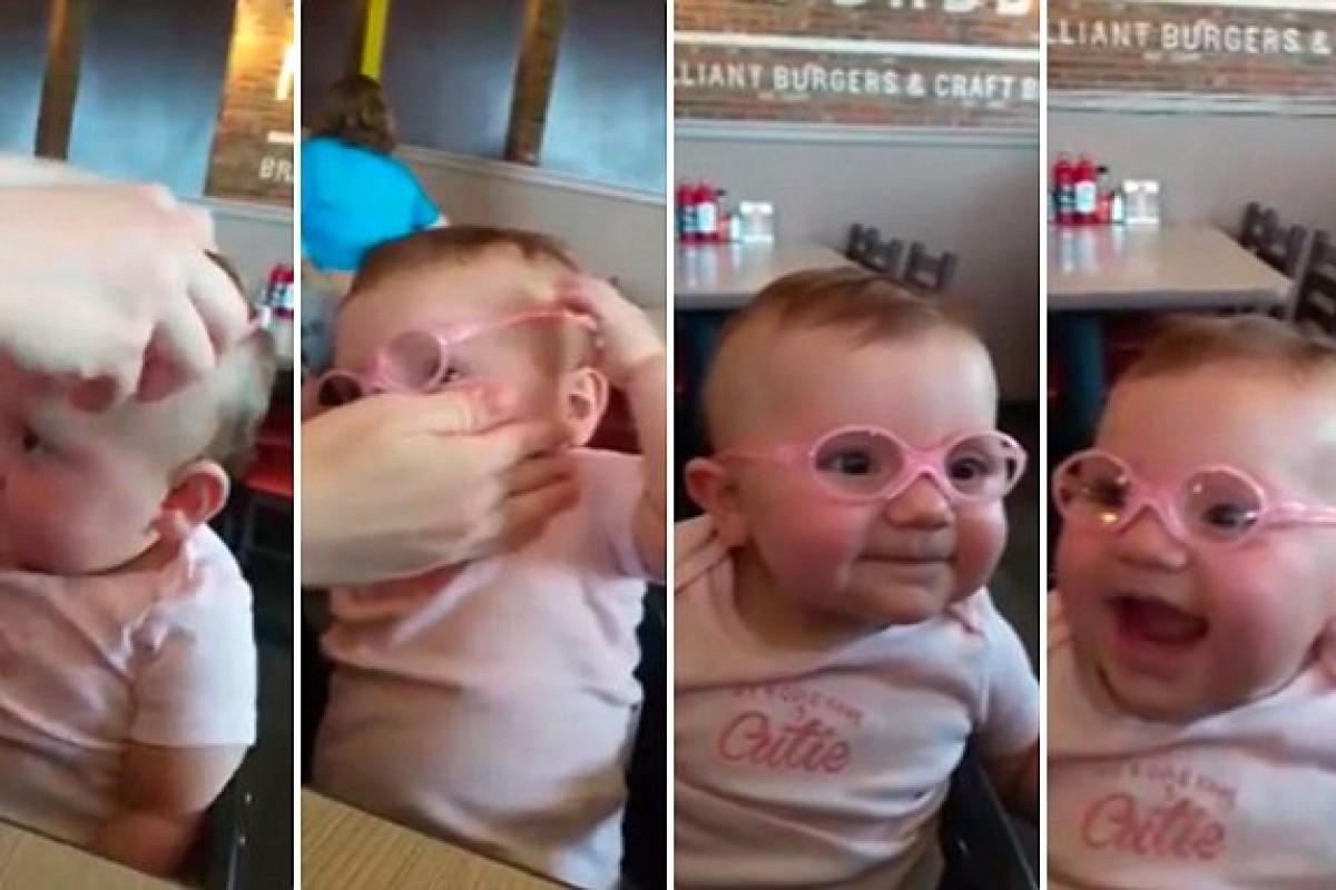 Η πιο γλυκιά μπέμπα φοράει γυαλιά για πρώτη φορά. Δείτε την αντίδρασή της!