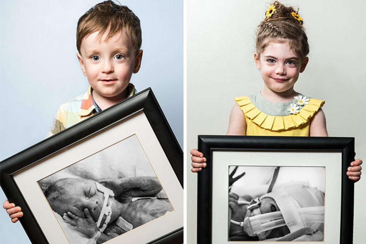 Άνθρωποι που γεννήθηκαν πρόωρα φωτογραφίζονται αγκαλιά με το πορτρέτο τους ως βρέφη