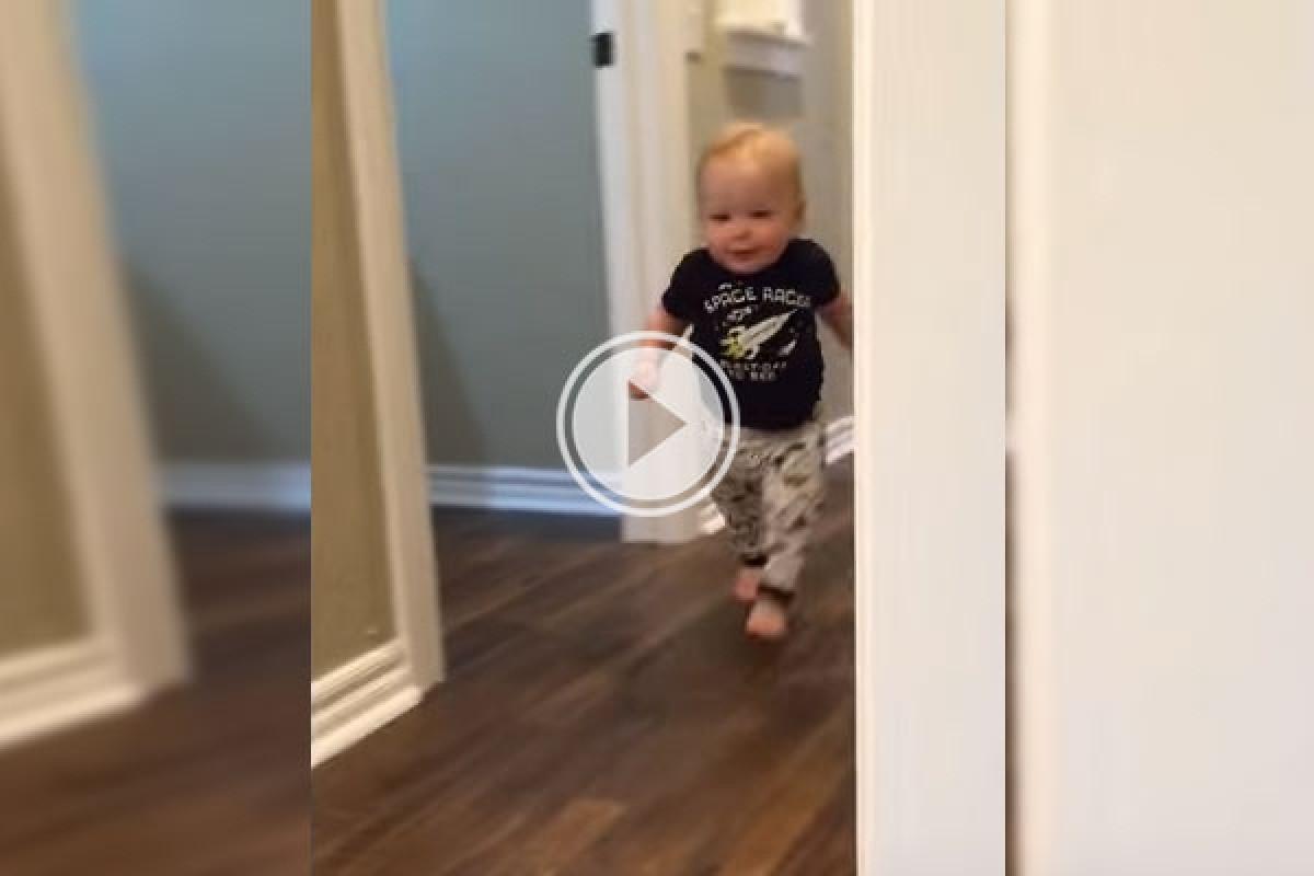 Δείτε τη χαριτωμένη αντίδραση αυτού του μπέμπη στον παππού του που έγινε… λιοντάρι!