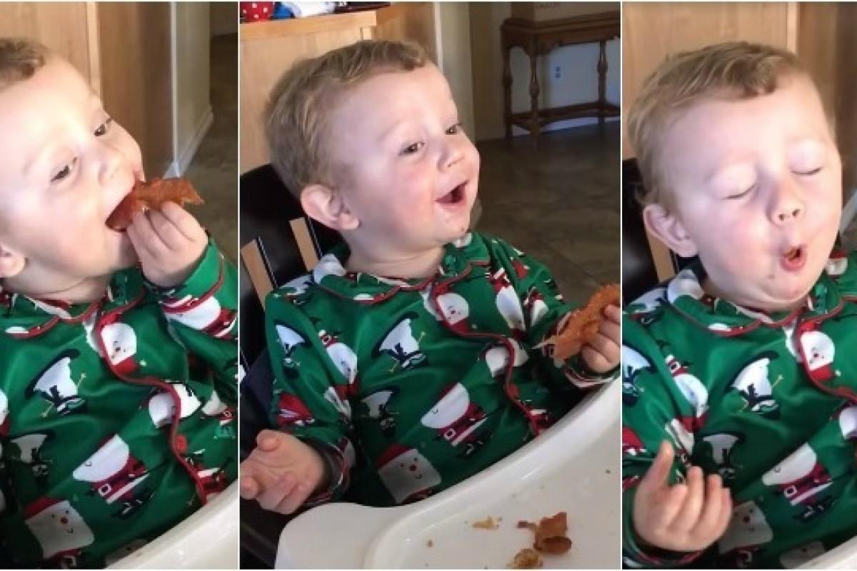 Δοκιμάζει μπέικον για πρώτη φορά. Δείτε την αντίδρασή του!