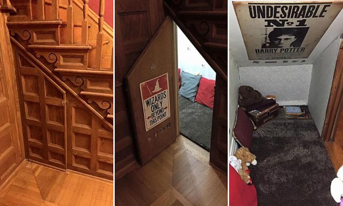 Μαμά δημιουργεί ένα «ντουλάπι κάτω από τις σκάλες» για τα παιδιά της που λατρεύουν τον Χάρι Πότερ