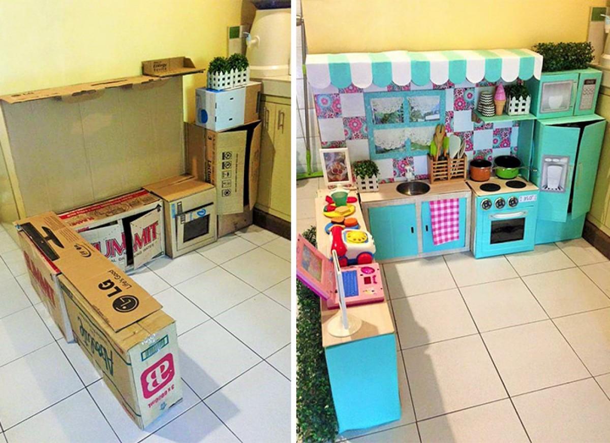 Έφτιαξε μίνι κουζίνα στην μικρή της κόρη από κούτες!