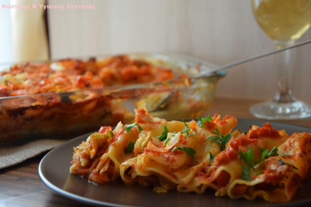 Κανελόνια γεμιστά με λάχανο και άλλα χειμωνιάτικα λαχανικά