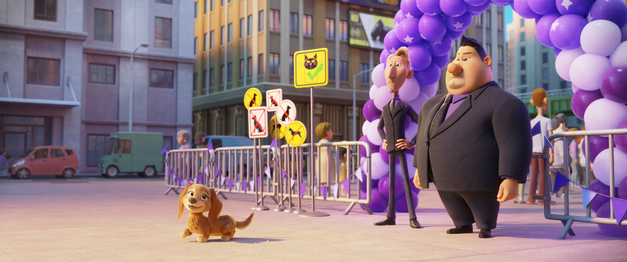 L-R: Liberty (voiced by Marsai Martin), Ruben (voiced by Dax Shepard), and Butch (voiced by Randall Park) in PAW PATROL: THE MOVIE from Paramount Pictures. Photo Credit: Courtesy of Spin Master.