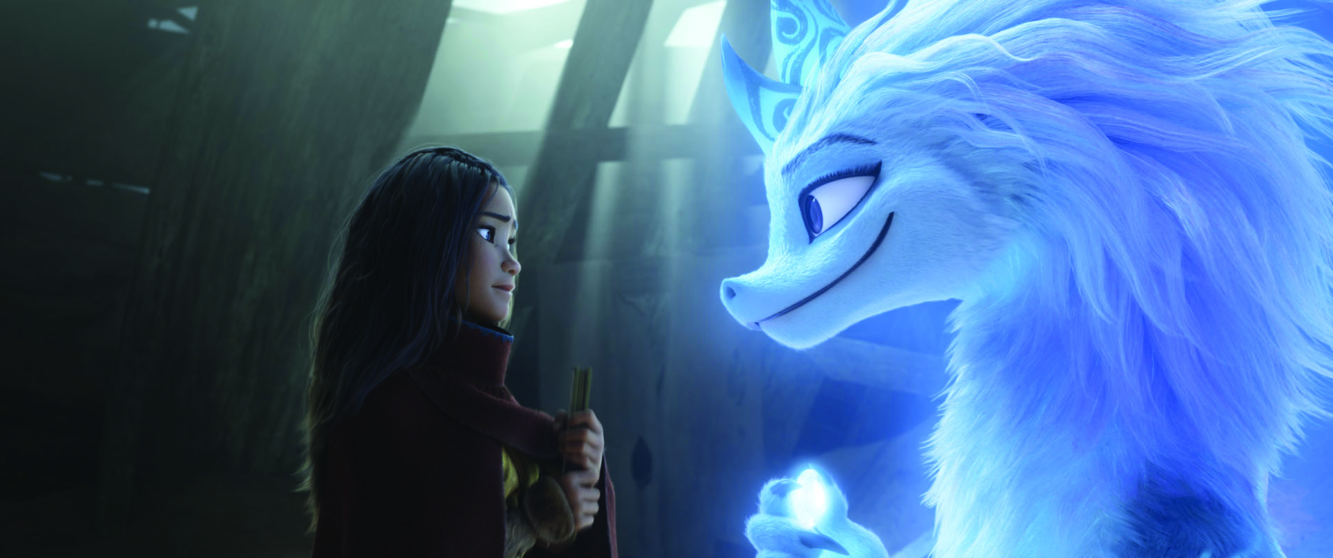 """Raya seeks the help of the legendary dragon, Sisu. Seeing what's become of Kumandra, Sisu commits to helping Raya fulfill her mission in reuniting the lands. Featuring Kelly Marie Tran as the voice of Raya and Awkwafina as the voice of Sisu, Walt Disney Animation Studios' """"Raya and the Last Dragon"""" will be in theaters and on Disney+ with Premier Access on March 5, 2021. © 2021 Disney. All Rights Reserved."""
